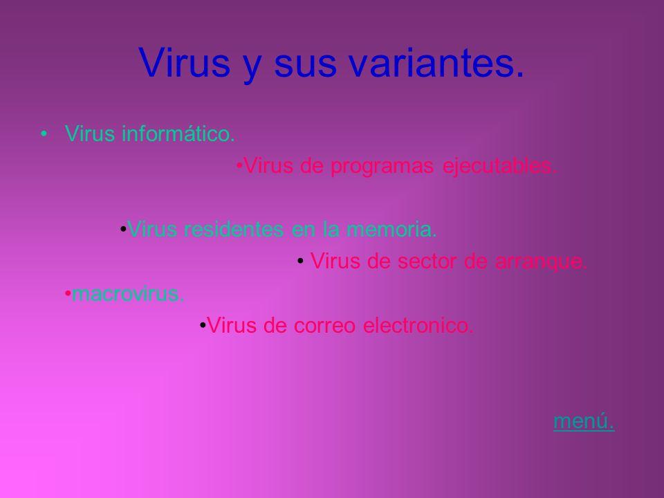 Virus y sus variantes. Virus informático.