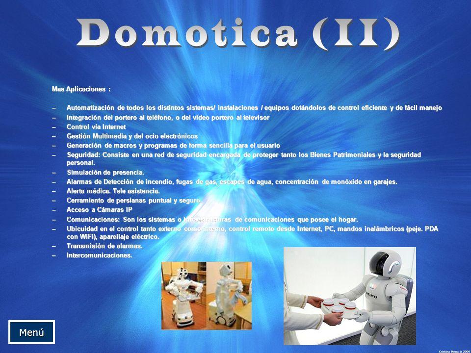 Domotica (II) Menú Mas Aplicaciones :
