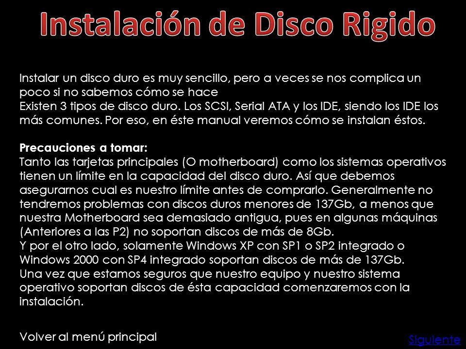 Instalación de Disco Rigido