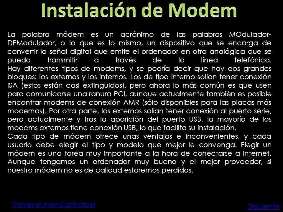 Instalación de Modem
