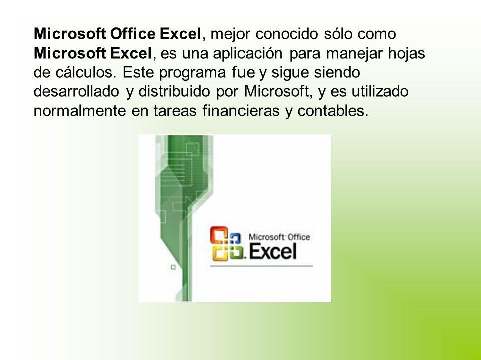 Microsoft Office Excel, mejor conocido sólo como Microsoft Excel, es una aplicación para manejar hojas de cálculos.