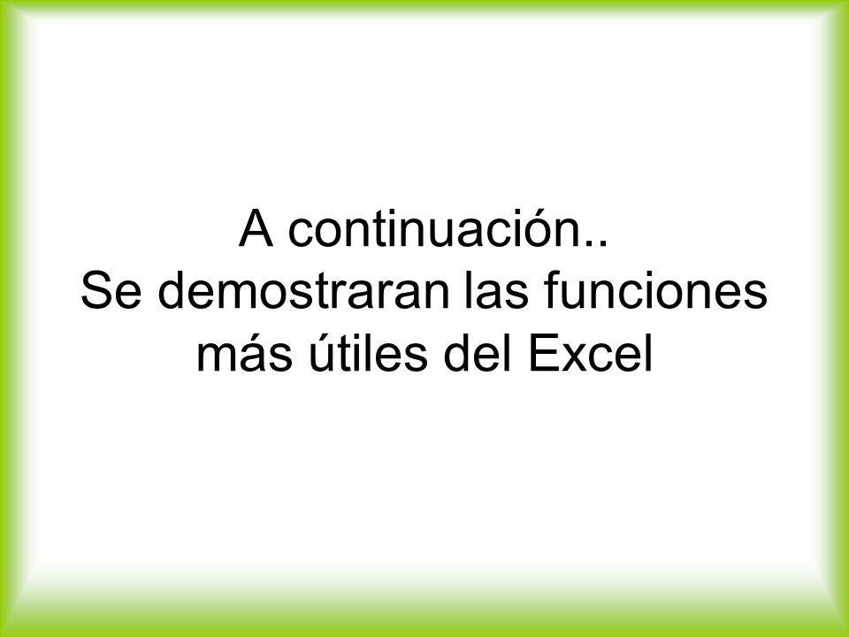 A continuación.. Se demostraran las funciones más útiles del Excel