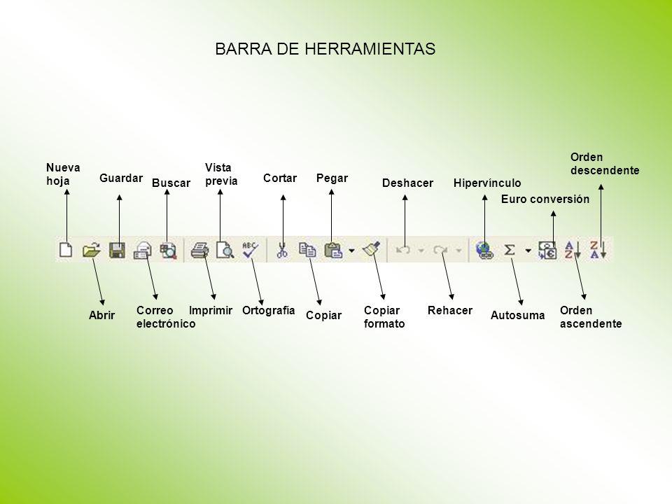 BARRA DE HERRAMIENTAS Orden descendente Nueva hoja Vista previa
