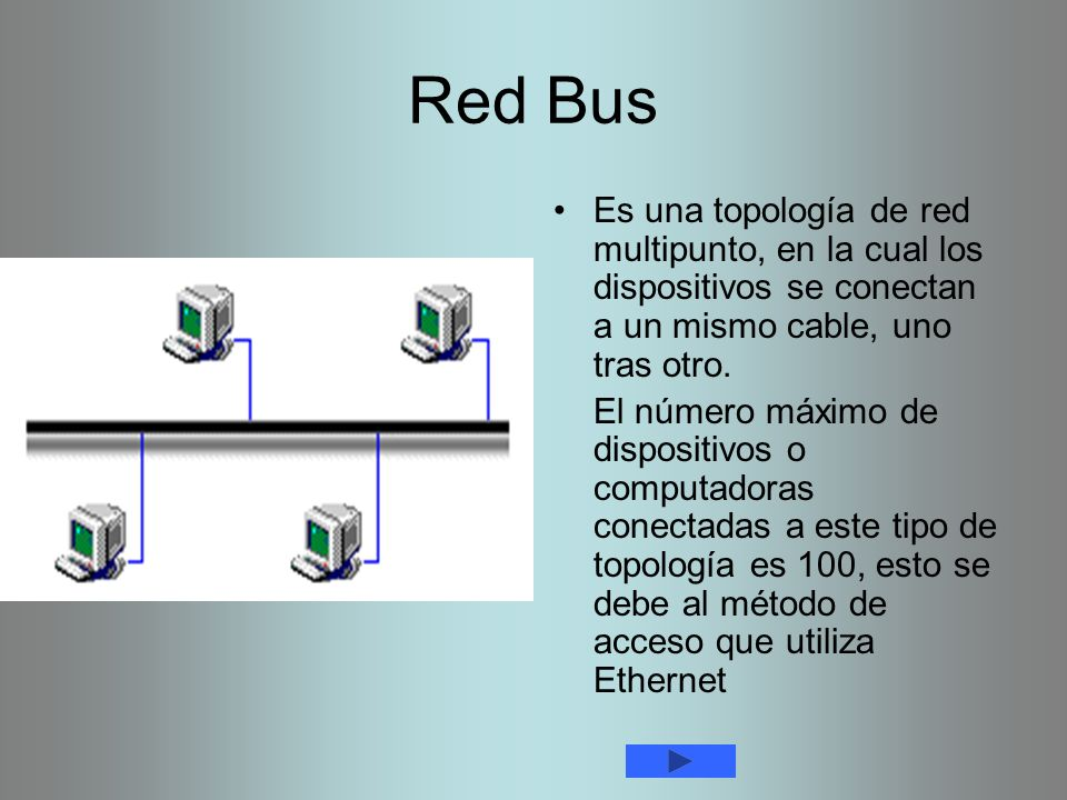 Red Bus Es una topología de red multipunto, en la cual los dispositivos se conectan a un mismo cable, uno tras otro.
