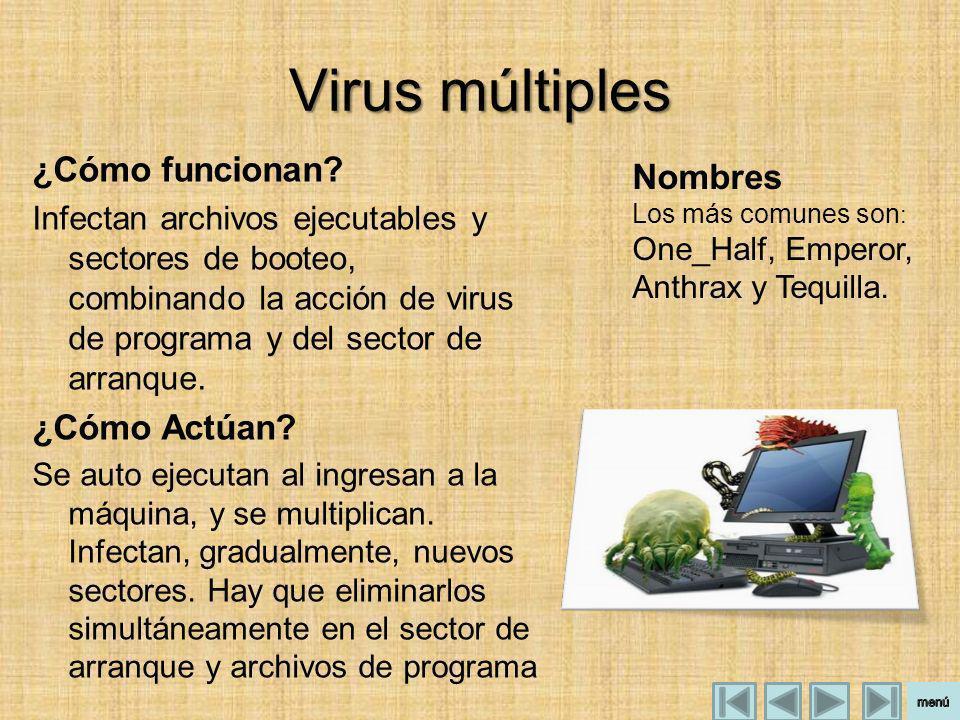 Virus múltiples ¿Cómo funcionan Nombres ¿Cómo Actúan