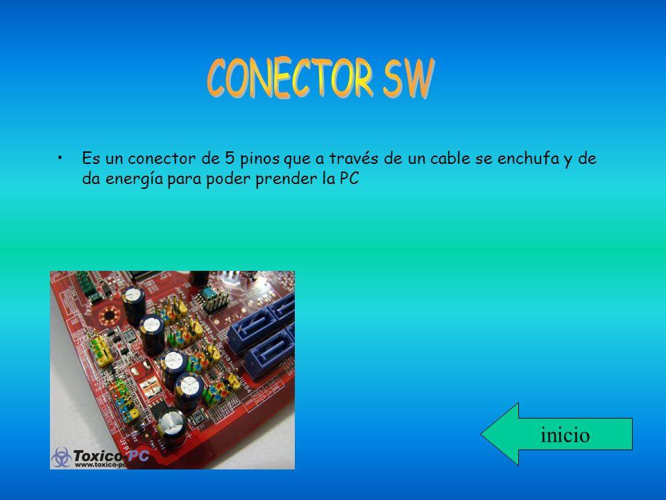 CONECTOR SW Es un conector de 5 pinos que a través de un cable se enchufa y de da energía para poder prender la PC.