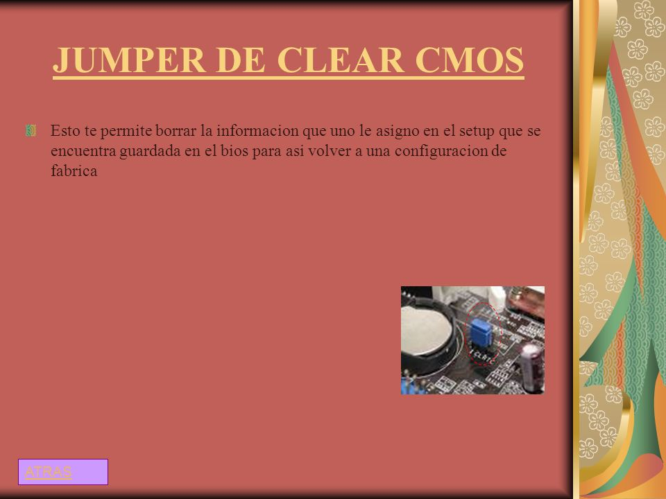 JUMPER DE CLEAR CMOS