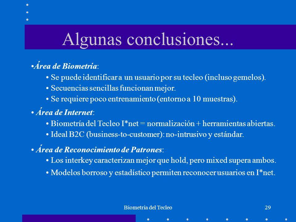 Algunas conclusiones... Área de Biometría: