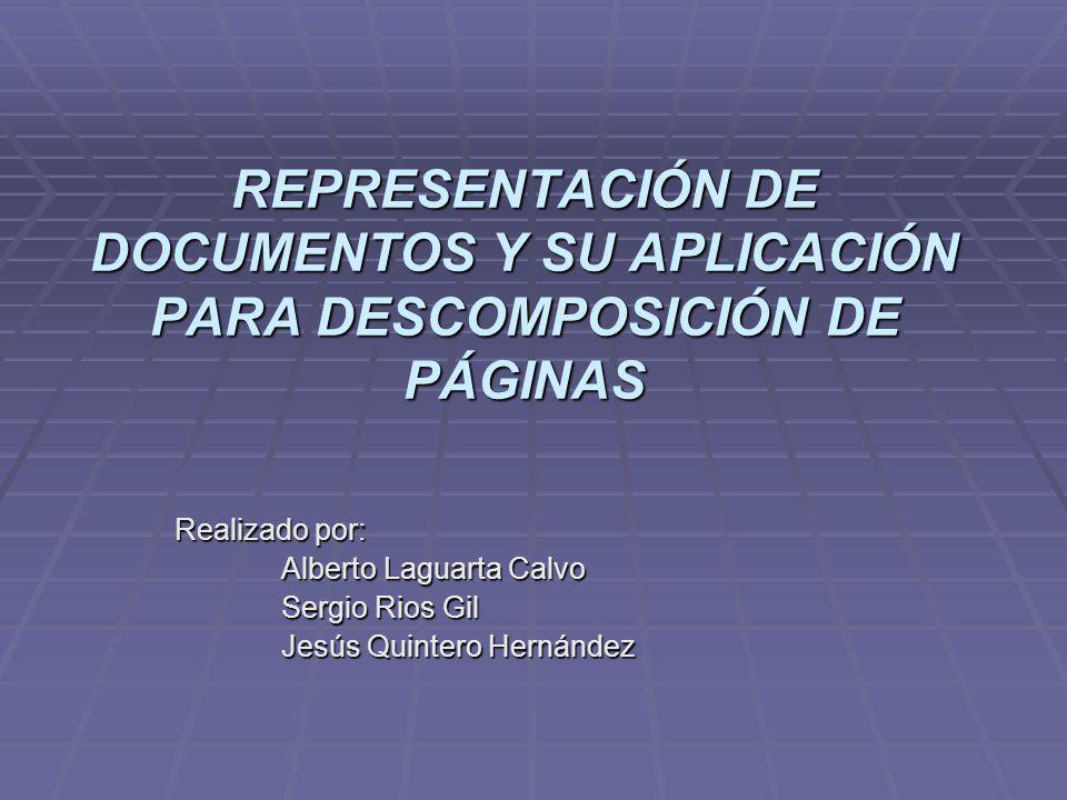 REPRESENTACIÓN DE DOCUMENTOS Y SU APLICACIÓN PARA DESCOMPOSICIÓN DE PÁGINAS