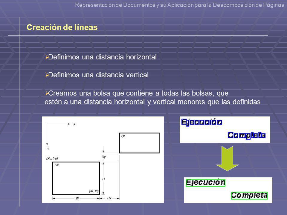 Creación de líneas Definimos una distancia horizontal