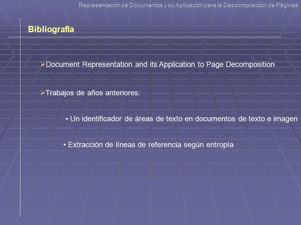 Representación de Documentos y su Aplicación a la Descomposición de Páginas