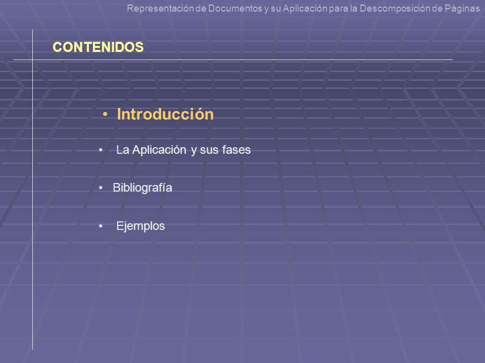 Introducción CONTENIDOS La Aplicación y sus fases Bibliografía