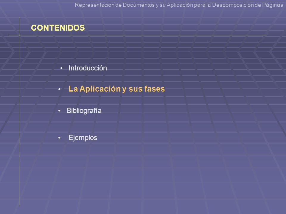 CONTENIDOS Introducción La Aplicación y sus fases Bibliografía