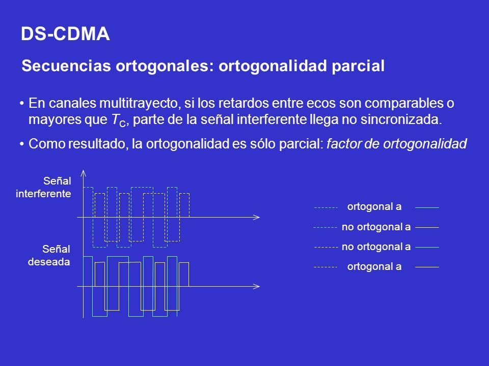DS-CDMA Secuencias ortogonales: ortogonalidad parcial