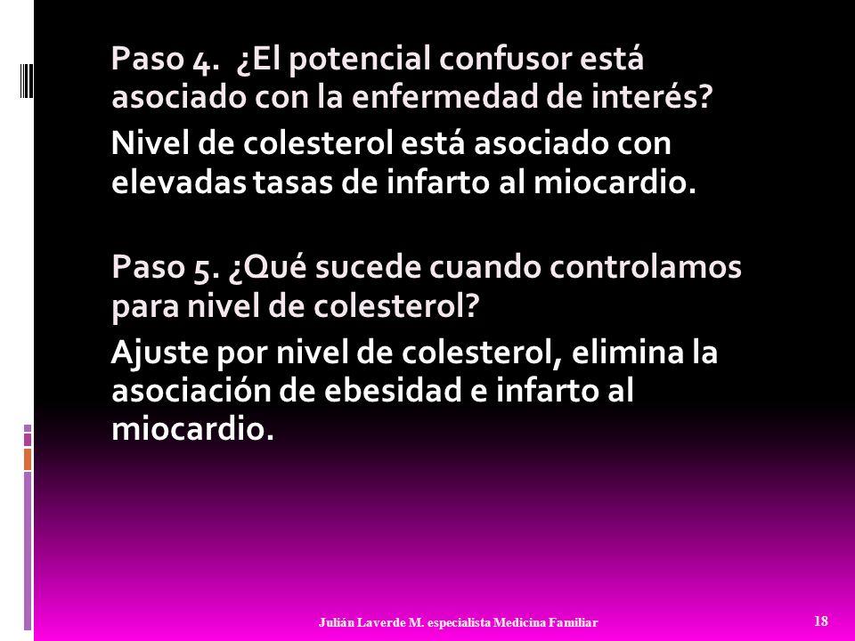 Paso 4. ¿El potencial confusor está asociado con la enfermedad de interés Nivel de colesterol está asociado con elevadas tasas de infarto al miocardio. Paso 5. ¿Qué sucede cuando controlamos para nivel de colesterol Ajuste por nivel de colesterol, elimina la asociación de ebesidad e infarto al miocardio.
