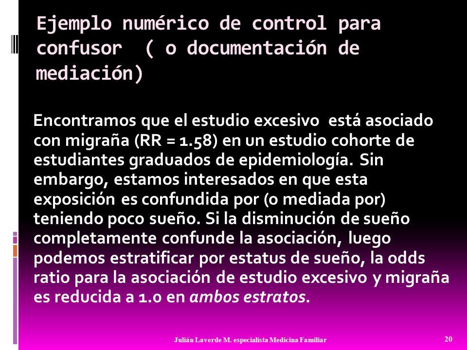 Ejemplo numérico de control para confusor ( o documentación de mediación)