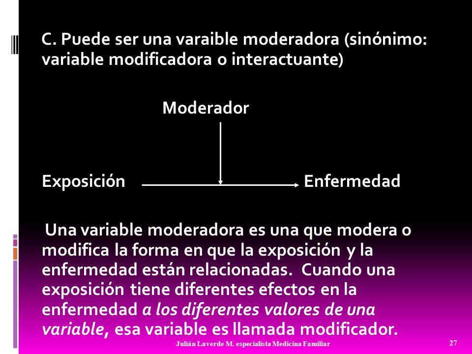 C. Puede ser una varaible moderadora (sinónimo: variable modificadora o interactuante) Moderador Exposición Enfermedad Una variable moderadora es una que modera o modifica la forma en que la exposición y la enfermedad están relacionadas. Cuando una exposición tiene diferentes efectos en la enfermedad a los diferentes valores de una variable, esa variable es llamada modificador.