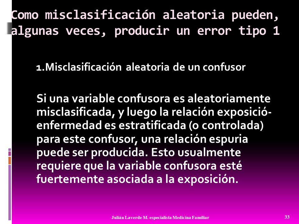 Como misclasificación aleatoria pueden, algunas veces, producir un error tipo 1