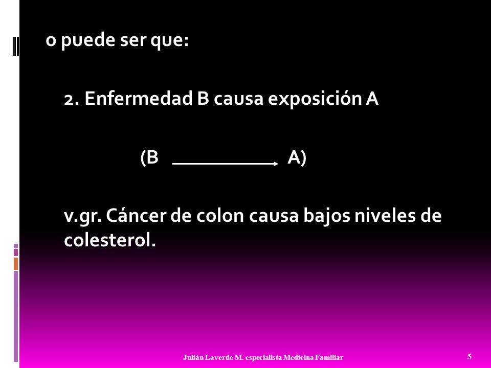 o puede ser que: 2. Enfermedad B causa exposición A (B A) v. gr