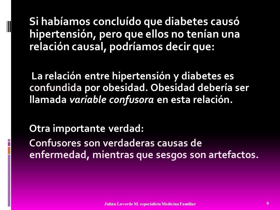 Si habíamos concluído que diabetes causó hipertensión, pero que ellos no tenían una relación causal, podríamos decir que: