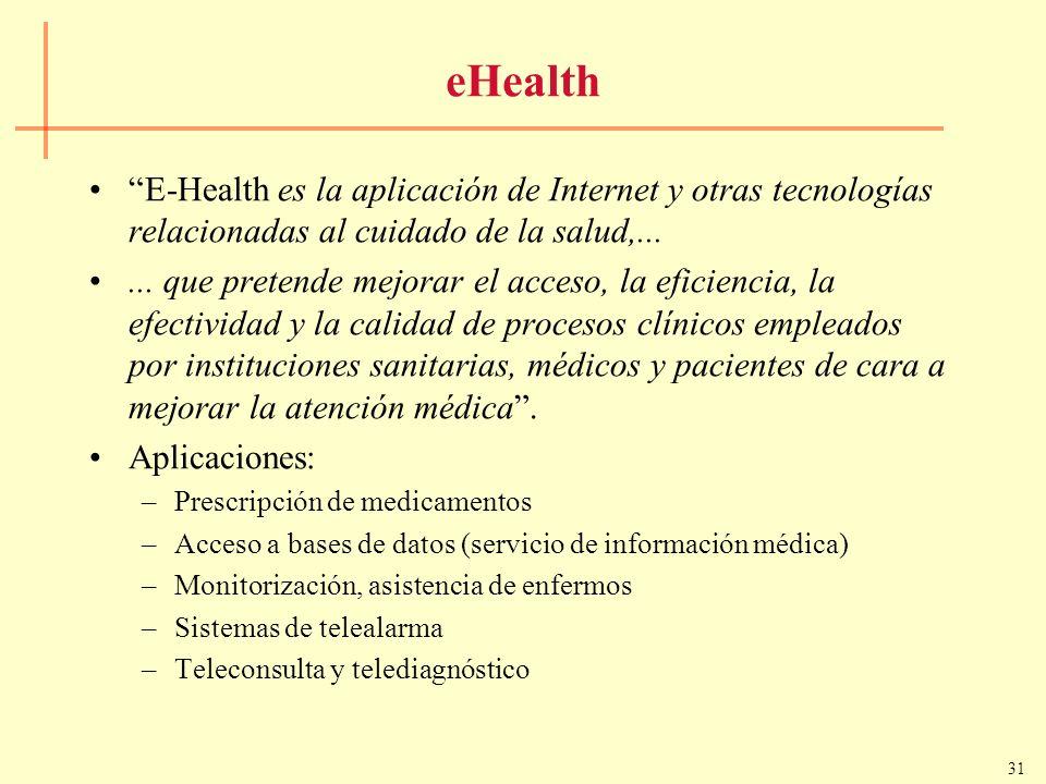 eHealth E-Health es la aplicación de Internet y otras tecnologías relacionadas al cuidado de la salud,...