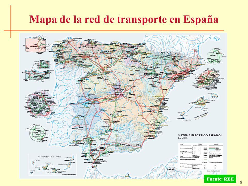 Mapa de la red de transporte en España