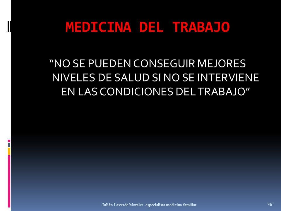MEDICINA DEL TRABAJO NO SE PUEDEN CONSEGUIR MEJORES NIVELES DE SALUD SI NO SE INTERVIENE EN LAS CONDICIONES DEL TRABAJO