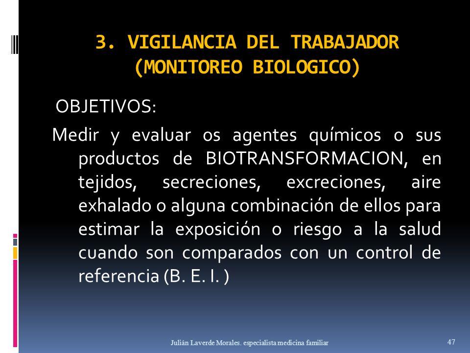 3. VIGILANCIA DEL TRABAJADOR (MONITOREO BIOLOGICO)