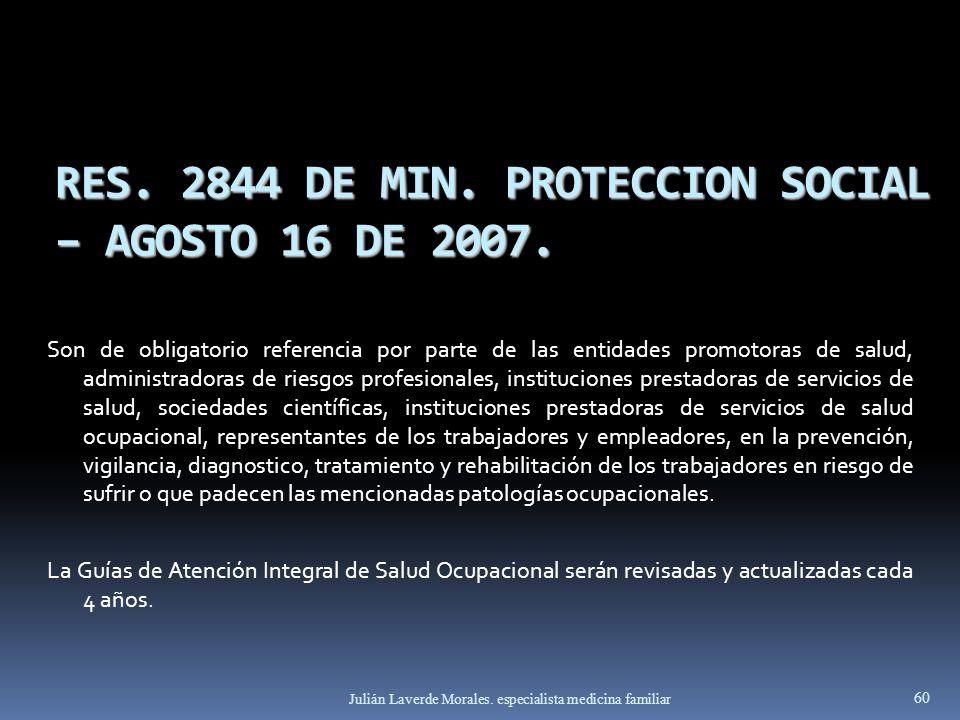 RES. 2844 DE MIN. PROTECCION SOCIAL – AGOSTO 16 DE 2007.