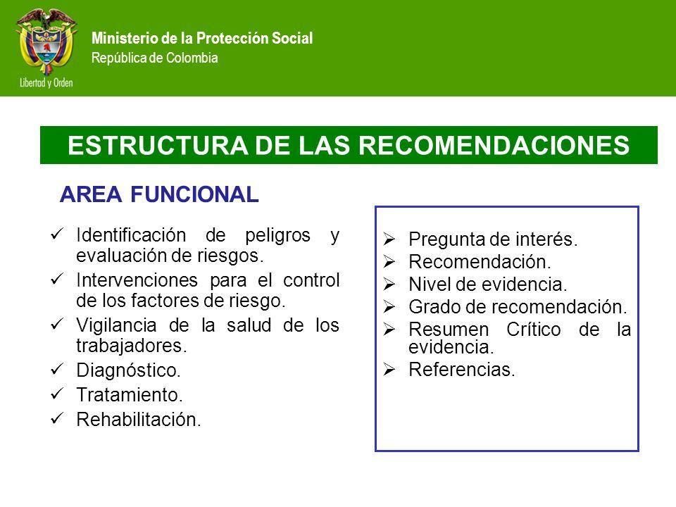 ESTRUCTURA DE LAS RECOMENDACIONES