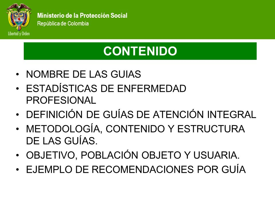 CONTENIDO NOMBRE DE LAS GUIAS ESTADÍSTICAS DE ENFERMEDAD PROFESIONAL