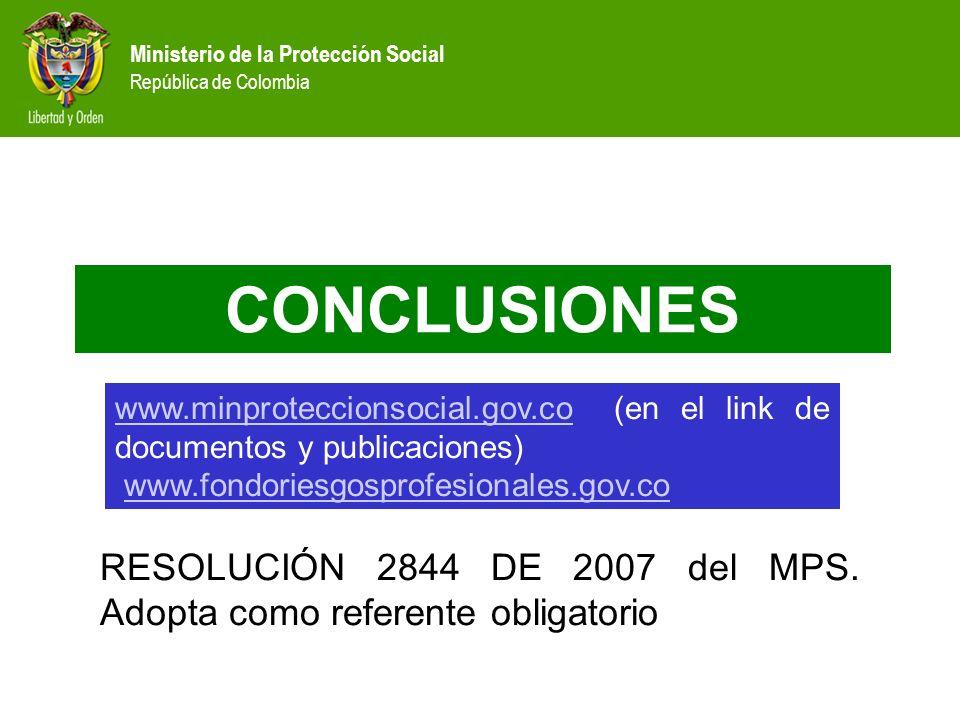 CONCLUSIONESwww.minproteccionsocial.gov.co (en el link de documentos y publicaciones) www.fondoriesgosprofesionales.gov.co.