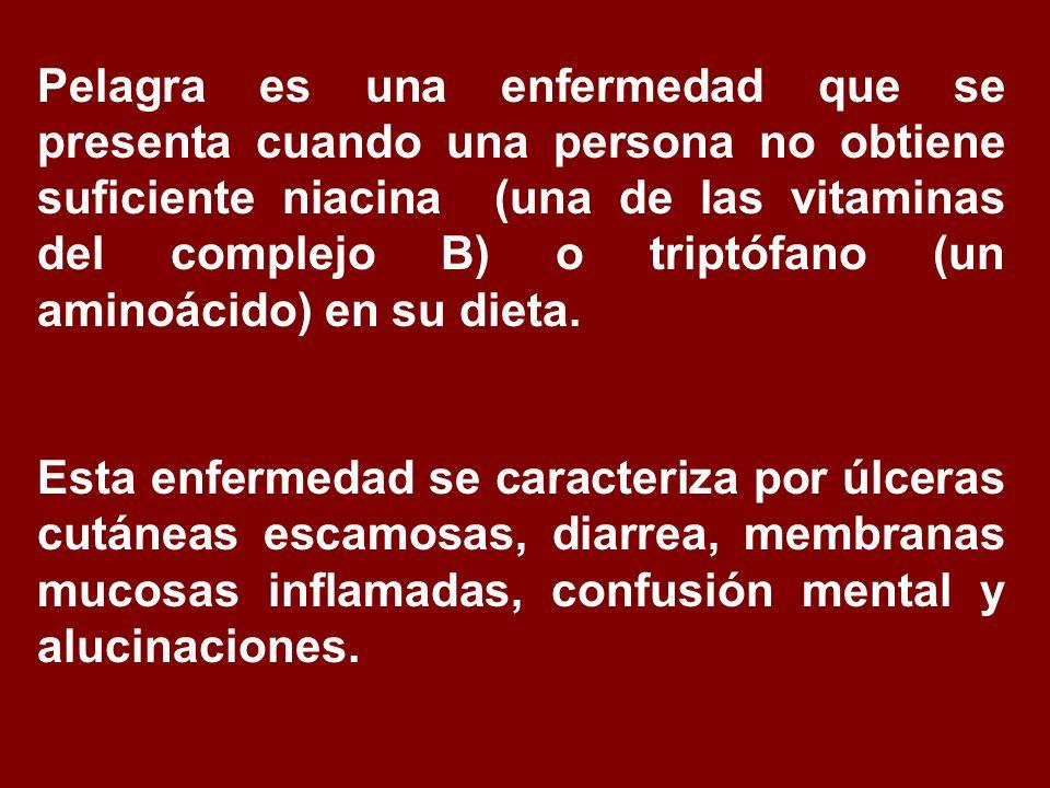 Pelagra es una enfermedad que se presenta cuando una persona no obtiene suficiente niacina (una de las vitaminas del complejo B) o triptófano (un aminoácido) en su dieta.