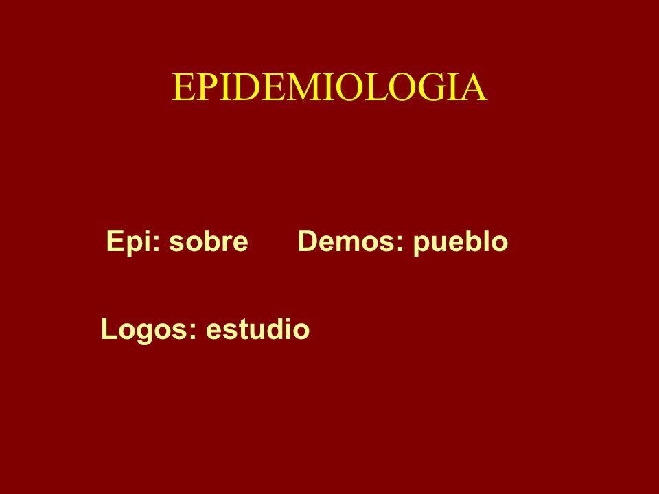 EPIDEMIOLOGIA Epi: sobre Demos: pueblo Logos: estudio