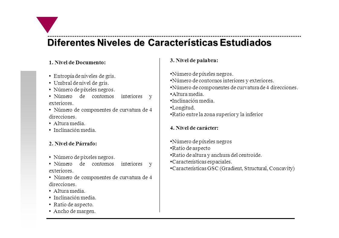 Diferentes Niveles de Características Estudiados