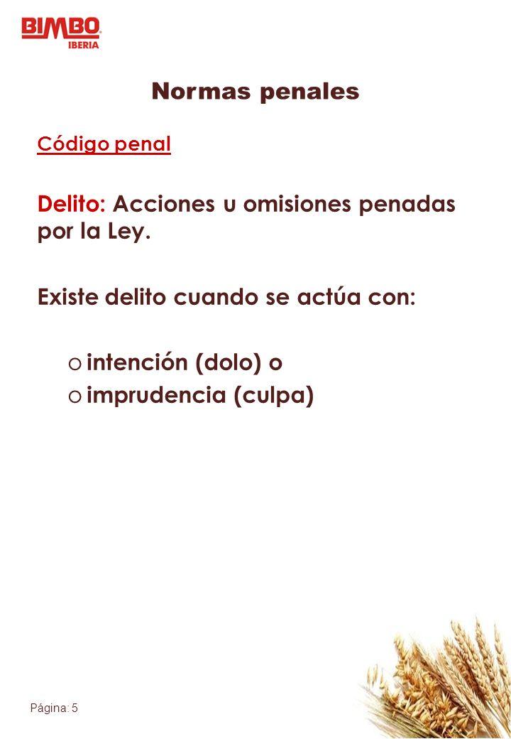 Normas penales Delito: Acciones u omisiones penadas por la Ley.