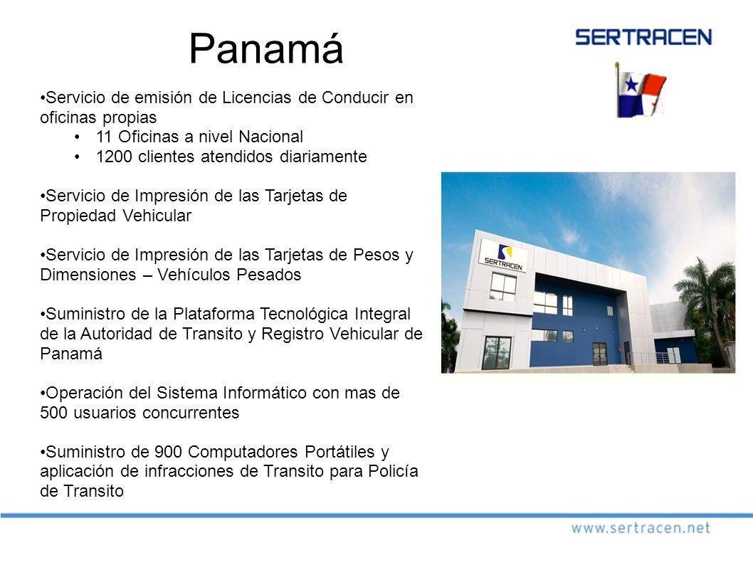 Panamá Servicio de emisión de Licencias de Conducir en oficinas propias. 11 Oficinas a nivel Nacional.