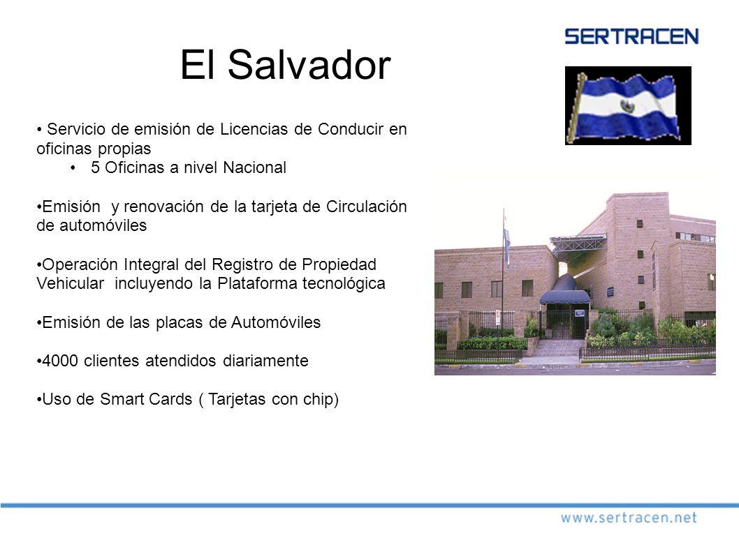 El Salvador Servicio de emisión de Licencias de Conducir en oficinas propias. 5 Oficinas a nivel Nacional.