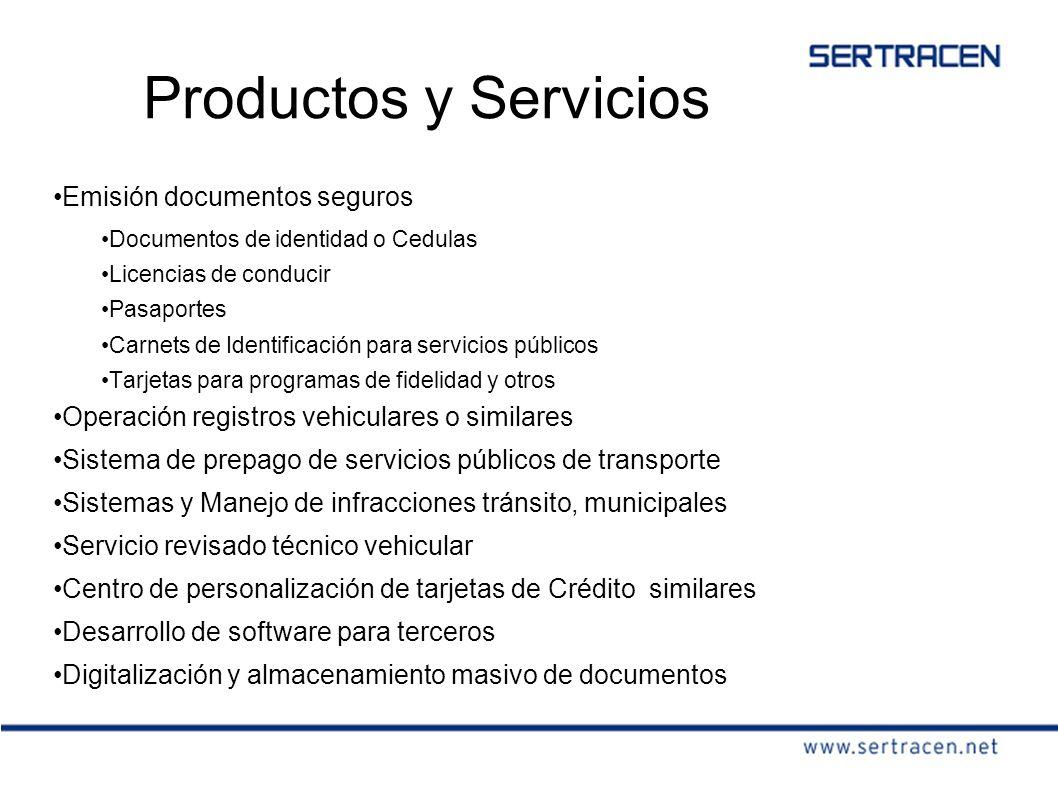 Productos y Servicios Emisión documentos seguros