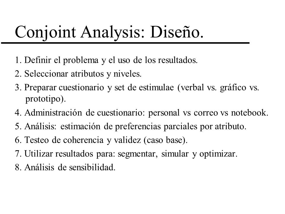 Conjoint Analysis: Diseño.