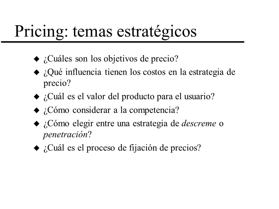 Pricing: temas estratégicos