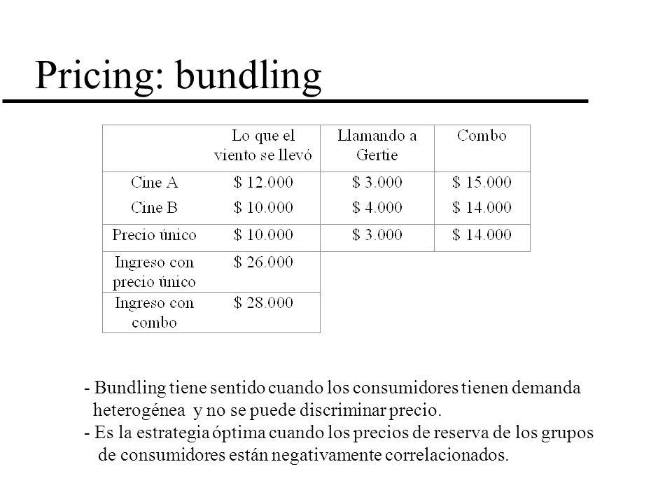 Pricing: bundling - Bundling tiene sentido cuando los consumidores tienen demanda. heterogénea y no se puede discriminar precio.