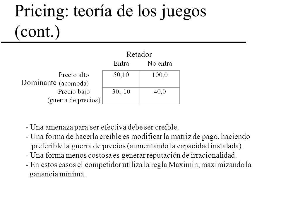 Pricing: teoría de los juegos (cont.)