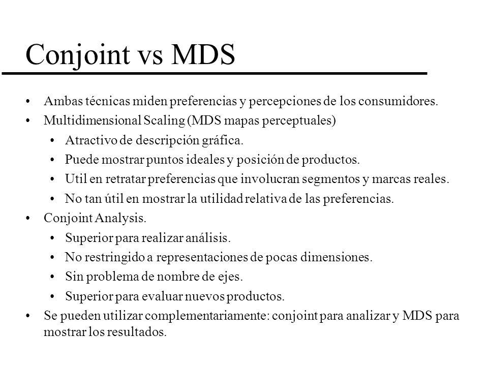 Conjoint vs MDS Ambas técnicas miden preferencias y percepciones de los consumidores. Multidimensional Scaling (MDS mapas perceptuales)