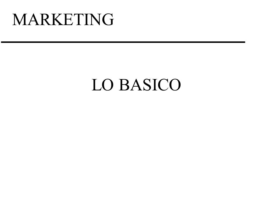 MARKETING LO BASICO