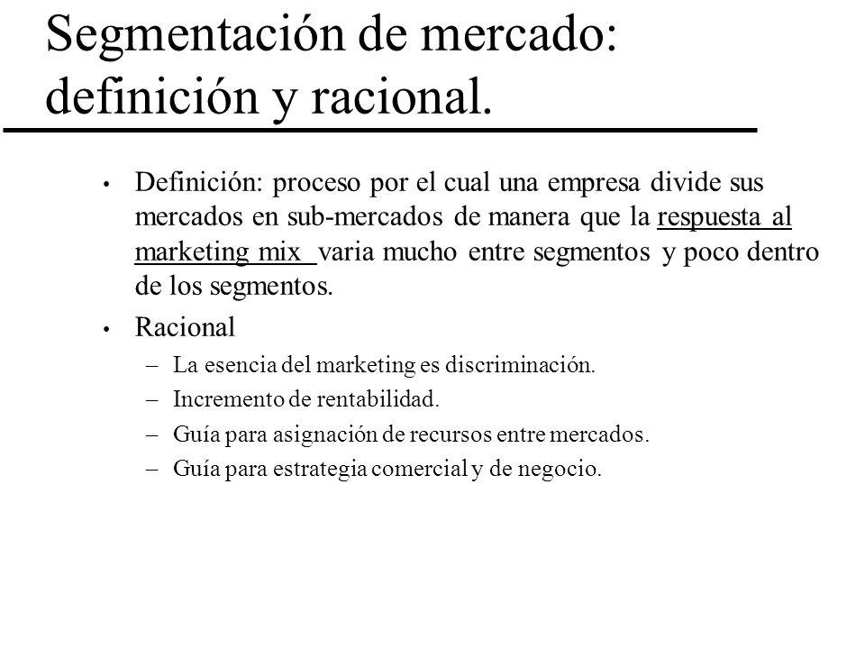 Segmentación de mercado: definición y racional.