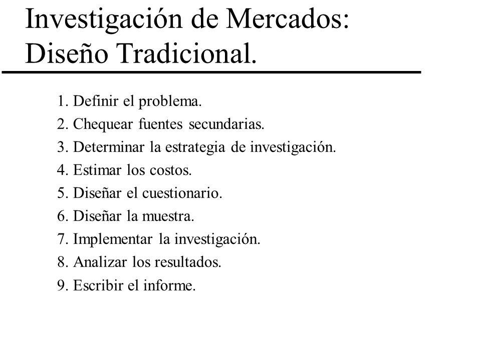 Investigación de Mercados: Diseño Tradicional.