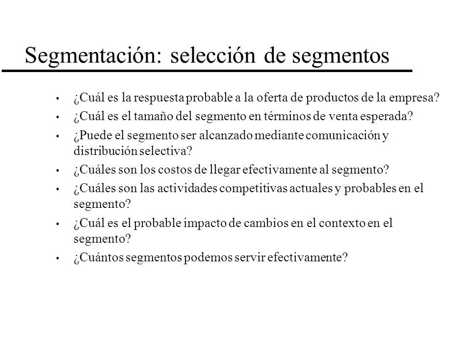 Segmentación: selección de segmentos