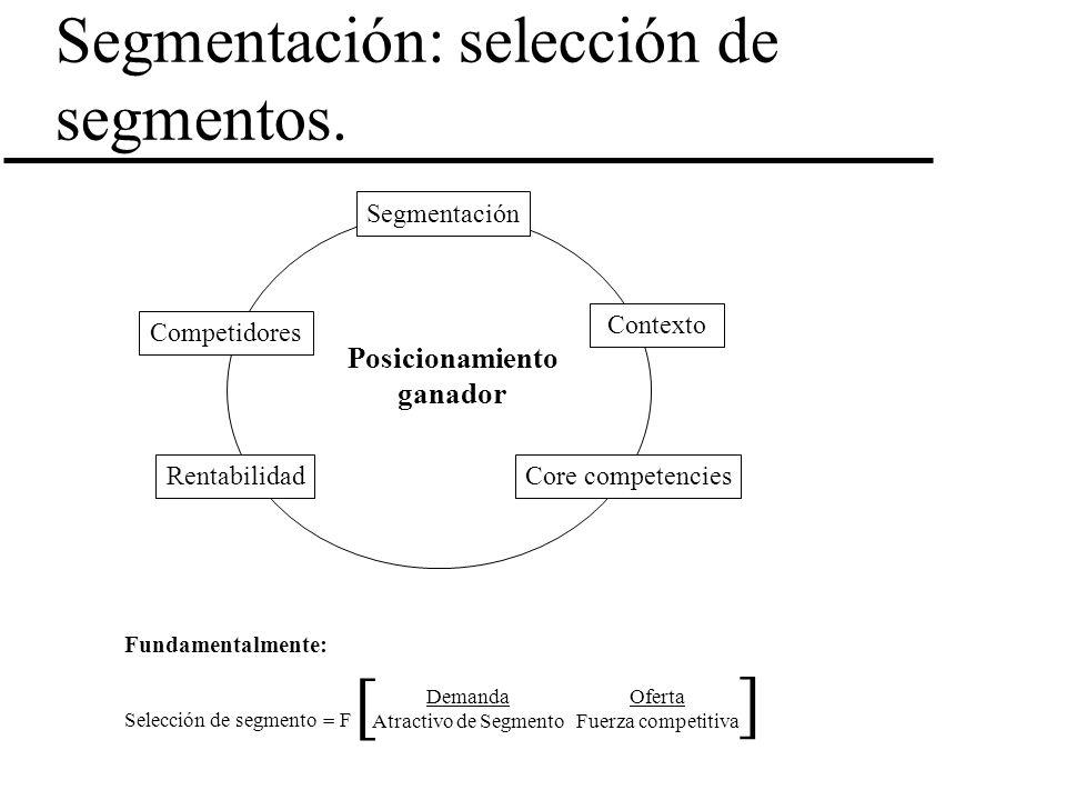 Segmentación: selección de segmentos.