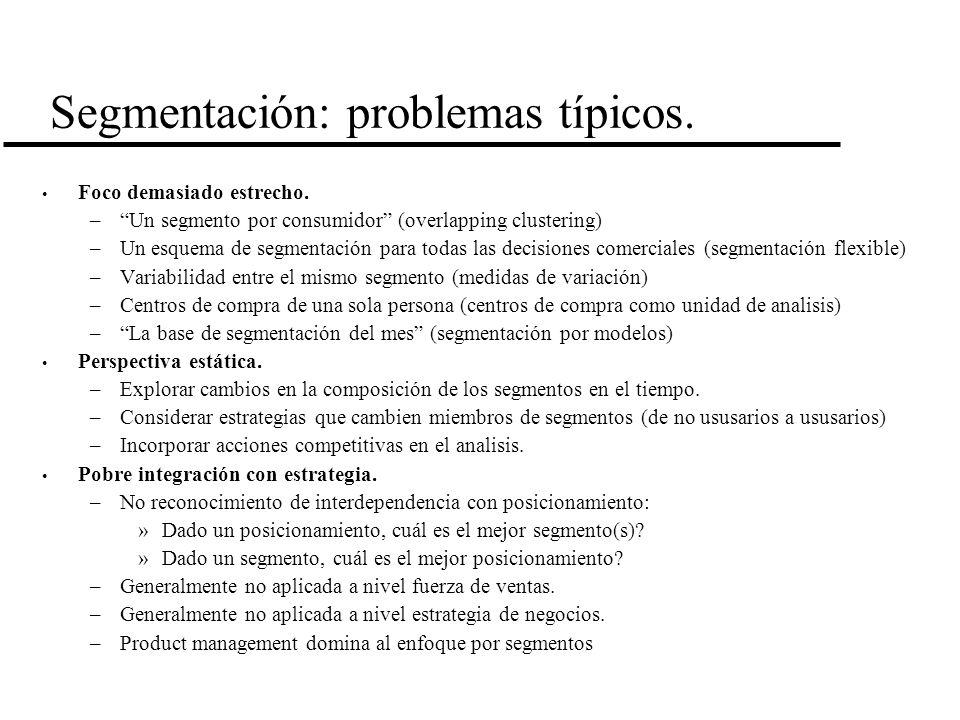 Segmentación: problemas típicos.